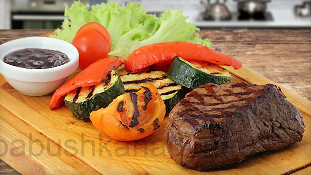 Мясо с овощами гриль